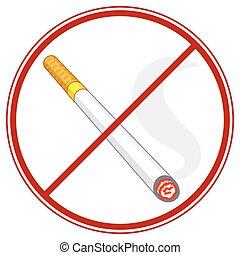 Cigarette ban symbol - Illustration of the burning cigarette...