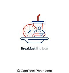 Lunch plate, early breakfast, burger and drink glass, clock icon