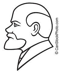 Lenin contour portrait - Illustration of the Lenin contour...
