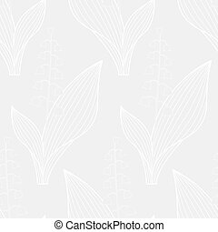 Lily of the valley white contour pattern - Seamless pattern...