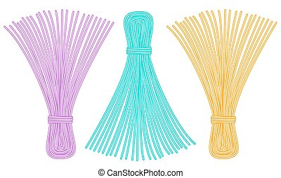 Thread tassel icons - Illustration of the thread tassel set