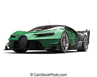 Dark green race supercar - studio shot