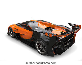 Black and orange supercar - back side view studio shot