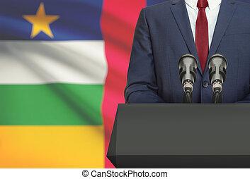 Político, nacional, -, atrás de, bandeira, homem negócios,...