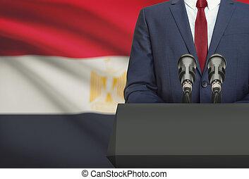 Político, Egito, nacional, -, atrás de, bandeira, homem...