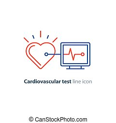 Heart test line icon, electrocardiogram monitor logo,...