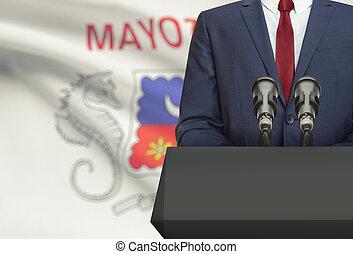 Político, mayotte, nacional, -, atrás de, bandeira, homem...