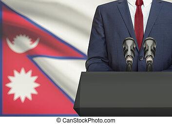 Político, nacional, Nepal, -, atrás de, bandeira, homem...