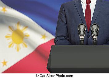 Político, nacional, -, atrás de, ou, bandeira, homem...