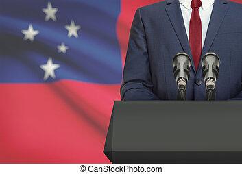 Politico, nazionale, discorso, -, Dietro, bandiera, uomo...