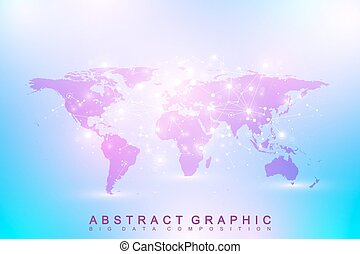 Political World Map. Geometric graphic background...