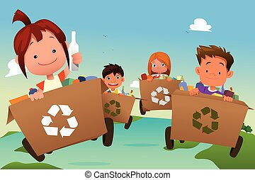 Group of Kids Recycling Trash - A vector illustration of...