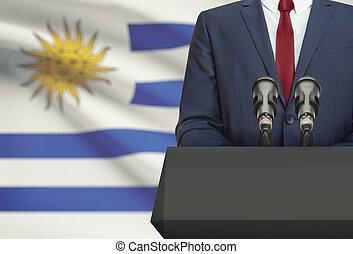 Político, Uruguai, nacional, -, atrás de, bandeira, homem...