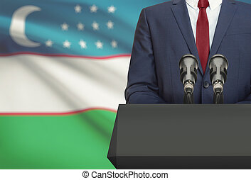 Político, nacional, -, atrás de, Uzbekistan, bandeira, homem...