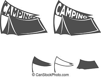 Monochrome emblem of a tent with a flag. Logo for the...