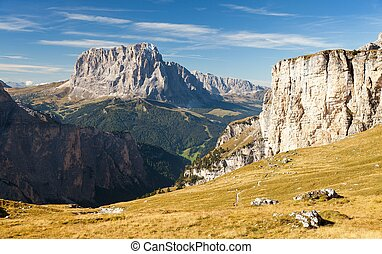View of Langkofel or Sassolungo, Dolomites mountains, Italy
