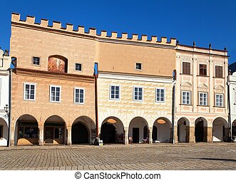 Telc town square with renaissance and baroque houses - View...