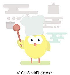 Flat illustration of chicken chef with wooden spoon. -...