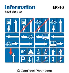 Informational road blue symbols set. Vector illustration...