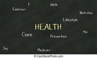 Handwriting concept of 'HEALTH' at chalkboard. with various...