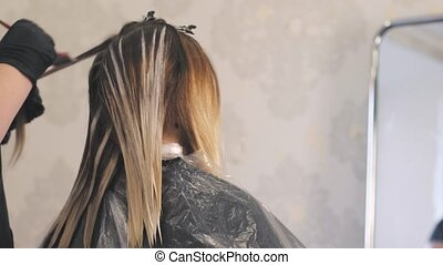 Stylist Beauty Studio causes the paint to hair to locks of...