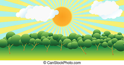 The sun over trees
