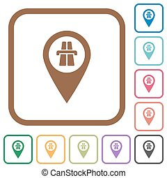 Highway GPS map location simple icons
