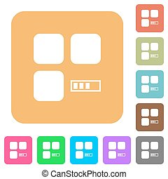Component processing rounded square flat icons - Component...