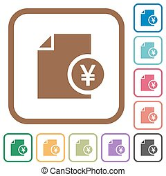 Yen financial report simple icons in color rounded square...