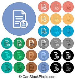 Save document round flat multi colored icons
