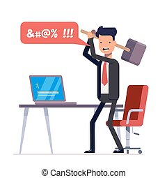 Broken computer with a blue screen of death. Computer virus. An angry businessman or manager with a sledgehammer in his hand expresses swearing. Flat illustration isolated on white background.