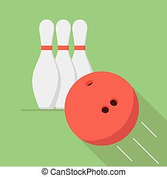 The bowling ball is moving toward the pin. Play of bowling. Icon or banner for the game club.