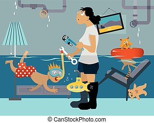 Plumbing problems - Kid snorkeling in a flooded room, his...