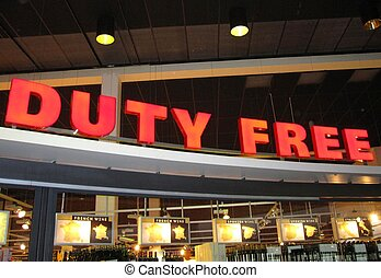Duty free sign at an airport