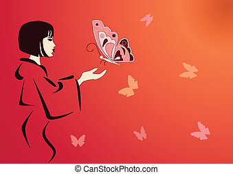 eastern woman - vector eastern woman feeding butterflies