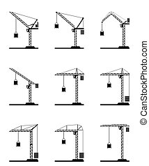 Different tower cranes - vector illustration