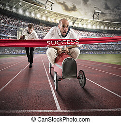 Successful businessman on the finishing line - Businessman...