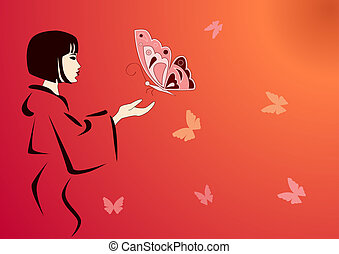 japanese geisha feeding butterflies