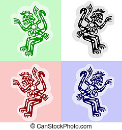 american indians monkeys - vector sketch of monkeys in...
