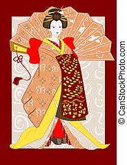 japanese geisha with a fan - vector japanese geisha with a...