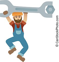 Cartoon mechanic holding a huge wrench, under construction,...