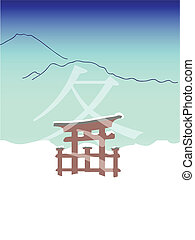 winter picture in japanese style - vector winter picture in...