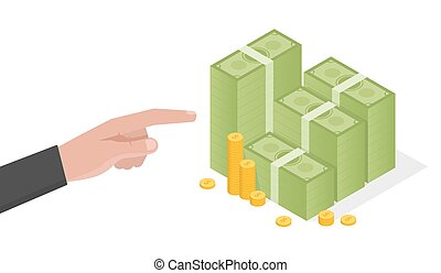 Businessman hand points a stack of green dollars money...