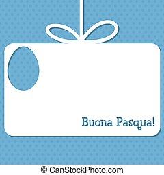 """Easter cut out tag card in vector format. Words translate to """"Happy Easter""""."""