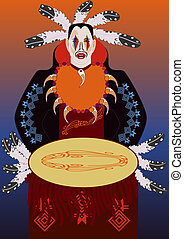 vector american indian man with a drum