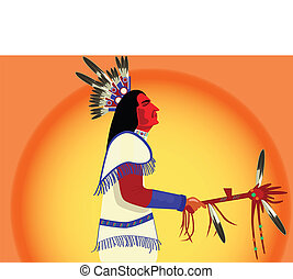 vector american indian man with - vector american indian man...