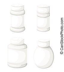 Jar tablet set Flat design style vector illustration.