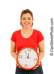 cute woman holding a clock as a simbol of time management