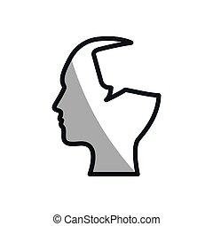 silhouette head bubble speech communication
