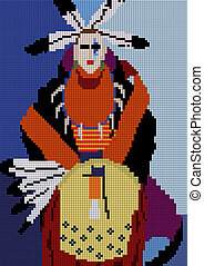 american indian man with a drum - vector mosaique...